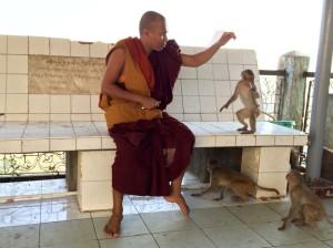 Feeding monkeys on Mt Popa, 50km from Bagan