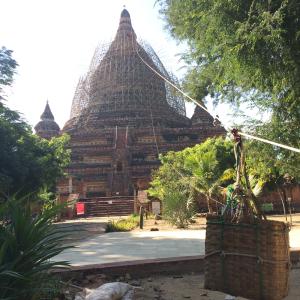 Restoration works, Bagan